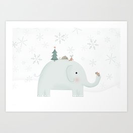 Little mouse and elephant exchanging gifts Art Print