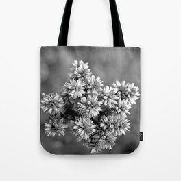 Black and White Floral Tiny Cobwebs on Flowers - Macro Close Up Tote Bag