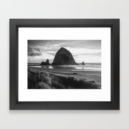 Cannon Beach Sunset - Black and White Nature Photography Framed Art Print