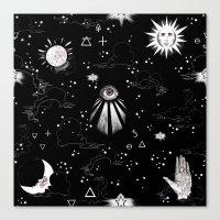 spiritual Canvas Prints featuring Spiritual Alchemy by Deborah Panesar Illustration