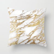 Chic Elegant White and Gold Marble Pattern Throw Pillow