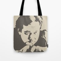 bill Tote Bags featuring Bill Hicks by Finlay McNevin