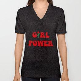 Girl Power Ringer Top Womens Tumblr Hipster Grunge Fashion Feminist Rose Hipster T-Shirts Unisex V-Neck
