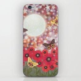 the moon, stars, io moths, & poppies iPhone Skin