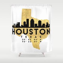 HOUSTON TEXAS SILHOUETTE SKYLINE MAP ART Shower Curtain