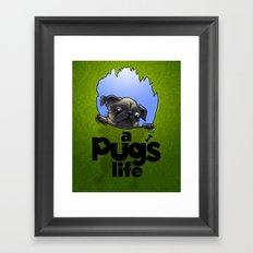 a Pug's life (dark face) Framed Art Print