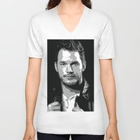 starlord V-neck T-shirts featuring Chris Pratt Poster by watsonedsherlock
