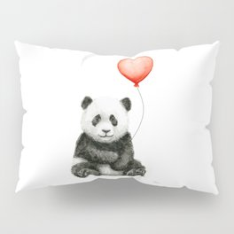 Baby Panda and Red Balloon Pillow Sham