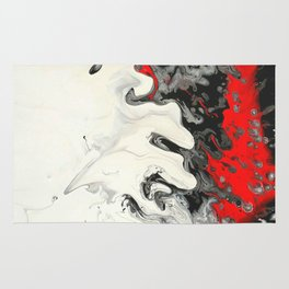 Black Red White Fluid Marble Painting Abstract Art Rug