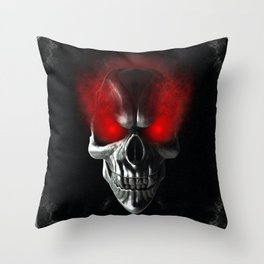 Skull with glowing red eyes Throw Pillow