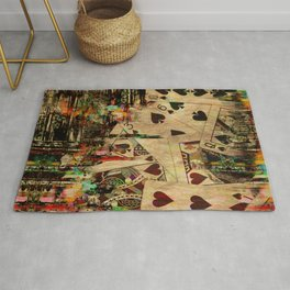 Abstract Vintage Playing cards  Digital Art Rug
