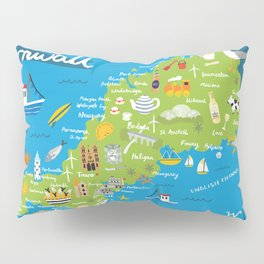 Cornwall Map Pillow Sham