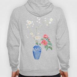 red camellia  flower white plum flower in blue vase Hoody