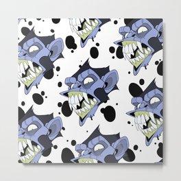 Monkeys Everywhere - Blue/Acid Metal Print