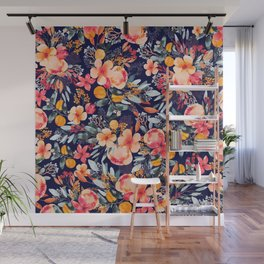 Navy Floral Wall Mural