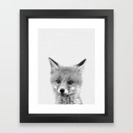 Black and white Fox print, Fox wall art, Nursery decor, Animal art, Baby animal prints Framed Art Print