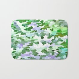 Foliage Abstract In Green and Mauve Bath Mat