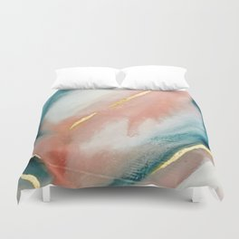 Celestial [3]: a minimal abstract mixed-media piece in Pink, Blue, and gold by Alyssa Hamilton Art Duvet Cover