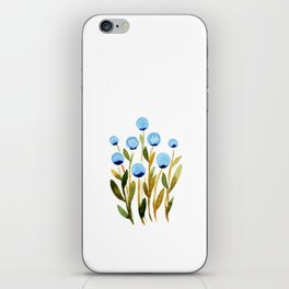 Simple watercolor flowers - blue and sap green iPhone Skin