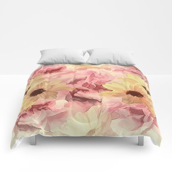 Soft Hazy Day Spring Floral Bouquet Comforters