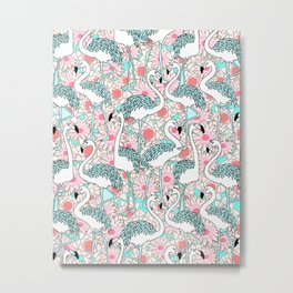 Flamingo with pink floral pattern #society6 Metal Print