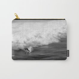Lone Surfer in Black and White Carry-All Pouch