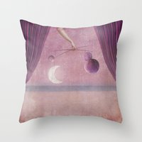 theater Throw Pillows featuring Night theater by Karine's Pictures