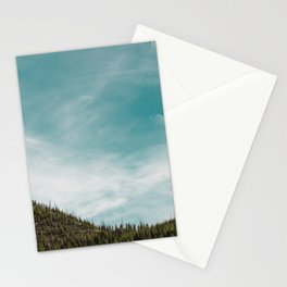 Teal Sky Forest Mountain Stationery Cards