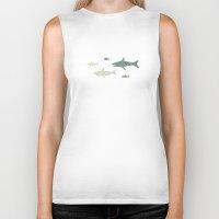 sharks Biker Tanks featuring Sharks! by Kinnon Elliott Illustration & Design