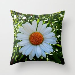 Single White Daisy Throw Pillow