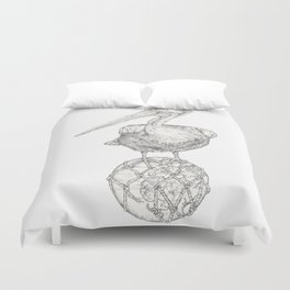 Holding on - The Dalmatian Pelican Duvet Cover