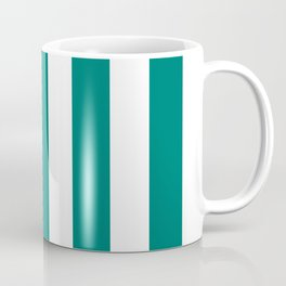 Pine green - solid color - white vertical lines pattern Coffee Mug