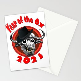 Year of the Ox 2 with Googly Eyes, Hat, Nose Ring, Transparent Background Stationery Cards