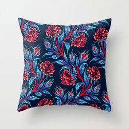 Roses - Dark Blue Red Throw Pillow