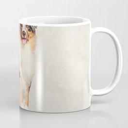 Australian Shepherd - Blue Merle Watercolor Digital Art Coffee Mug