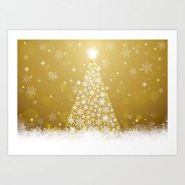 Gold Snowflakes Sparkling Christmas Tree Art Print