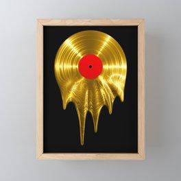 Melting vinyl GOLD / 3D render of gold vinyl record melting Framed Mini Art Print