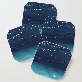 Garlands of stars, watercolor teal ocean Coaster
