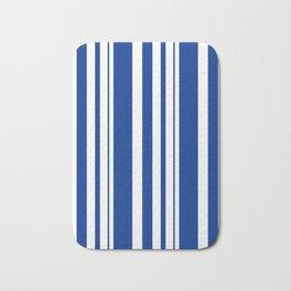 White and blue striped . Bath Mat