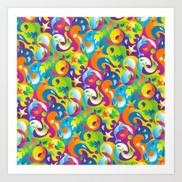 Dolphins, Seals and Sea Life in Tropical Ocean Waves Art Print