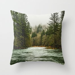 Wanderlust Forest River - Mountain Adventure in Foggy Woods Throw Pillow