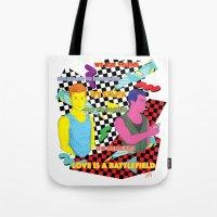 battlefield Tote Bags featuring Love is a battlefield by JetProArt