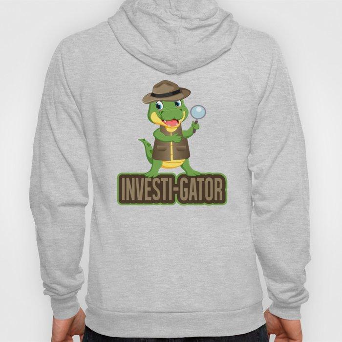 Investi Gator Alligator In A Vest, Funny Reptile Pun, Reptile Swamp Cat Investigate, Researchers Hoody