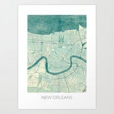 New Orleans Map Blue Vintage Art Print