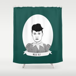 Nellie Bly Illustrated Portrait Shower Curtain