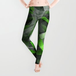 Eighties Vibes Lime and Grey Layered Curve Pattern Leggings
