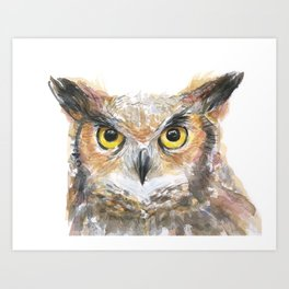 Owl Great Horned Owl Watercolor Art Print