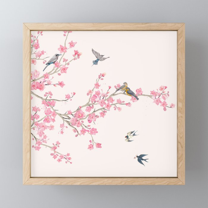 Birds and cherry blossoms Framed Mini Art Print