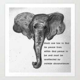 Elephant Ghandi Art Print