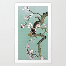 Fortune Cat In Cherry Tree Art Print